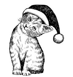christmas cat pet 1 vector image
