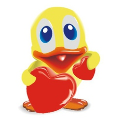 Duck with two hearts vector