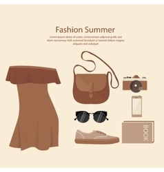 fashion summer dress design woman with bag vector image vector image