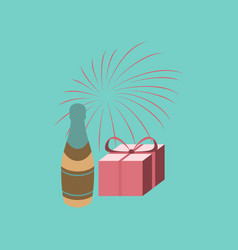 Flat on background of fireworks champagne gift vector