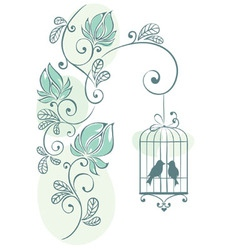 Floral background - love birds vector image vector image