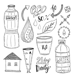 hand drawn set of water and recycle icons vector image vector image