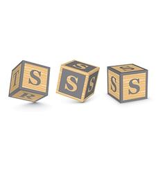 Letter s wooden alphabet blocks vector