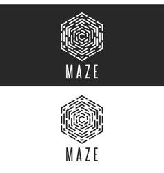 Maze logo cube thin line labyrinth vector image
