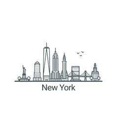 Outline New York banner vector image