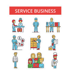service business thin line icons vector image vector image