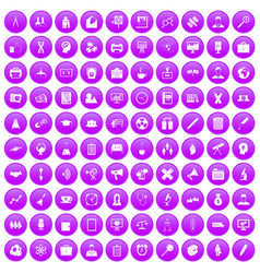 100 seminar icons set purple vector