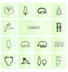 14 forest icons vector image