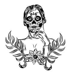 a day dead girl face art inspiration vector image