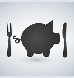 A fork and knife with a pig vector