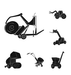 Agricultural machinery black icons in set vector