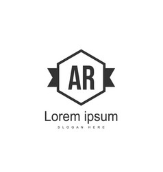 ar letters logo design simple and creative black vector image