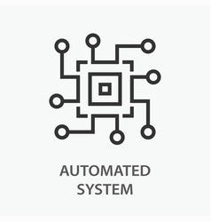 Automated system line icon on white background vector
