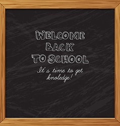 Black blackboard greeting card welcome back to vector