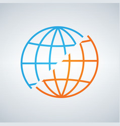 Blue and orange shifted or devided world globe vector