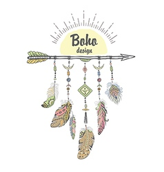 Boho Style with Ethnic Arrows and Feathers vector