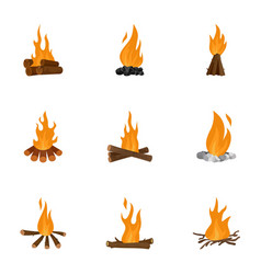bonfire icons set cartoon style vector image