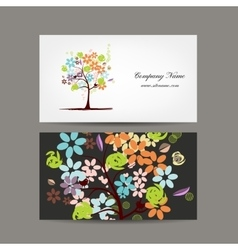 Business cards design with floral tree vector image