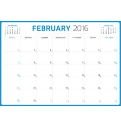 Calendar Planner 2016 Design Template February vector image