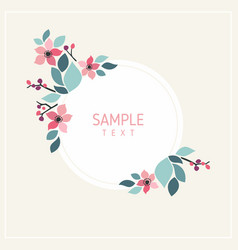 Card with flowers and leaves wedding ornament vector