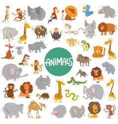 Cartoon animal characters big set vector