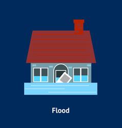 Cartoon building disasters destruction flood on a vector