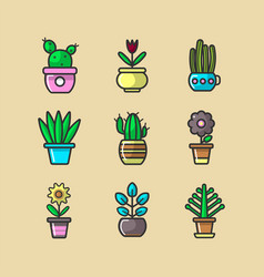 cartoon green indoor plants in pots big collection vector image