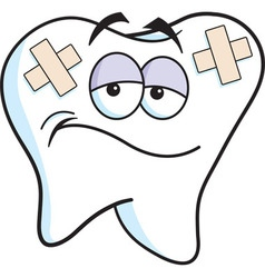 Cartoon tooth with bandages vector image