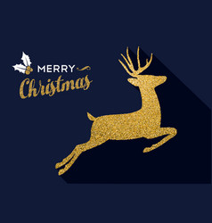 Christmas gold glitter holiday deer animal card vector