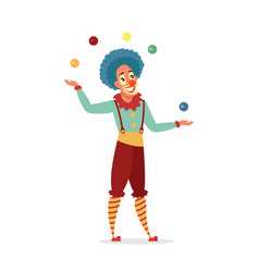 circus clown juggling with colorful balls isolated vector image