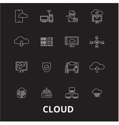 cloud editable line icons set on black vector image