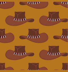 Cowboy hat pattern australian cap background vector