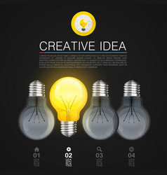creative idea idea lamp light black background vector image