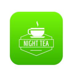 cup tea icon green vector image