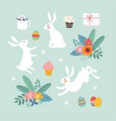 cute easter set white rabbits colorful easter vector image