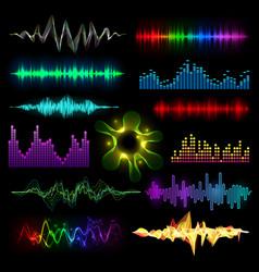 Digital music equalizer audio waves set vector