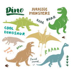 Dino doodles set cute dinosaurs sketch vector