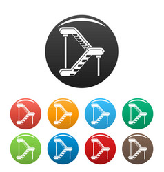 double escalator icons set color vector image