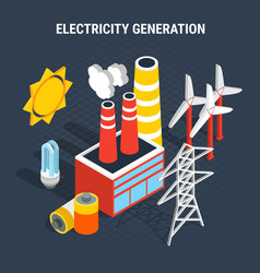 electricity isometric colored composition vector image