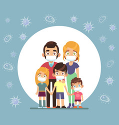 Family face masks parents and children wearing vector