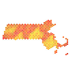 fired hexagon massachusetts state map vector image