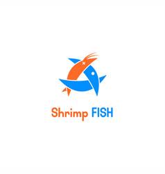 fish eat shirmp logo vector image
