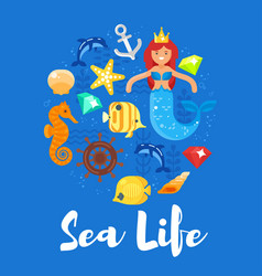 flat style of sea life vector image