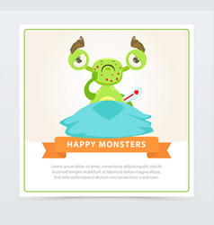 funny sick green monster with thermometer happy vector image