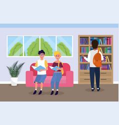 girl and boy in the university library with book vector image