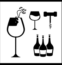 glasses bottles of wine and take out cork vector image