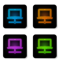 glowing neon computer network icon isolated on vector image