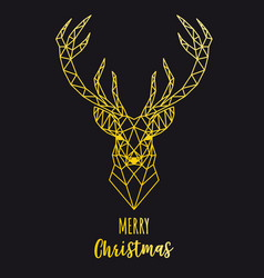 gold geometric reindeer christmas card vector image