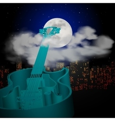 Guitar cityscape moon and clouds vector