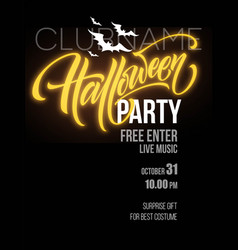 Halloween party poster with flying bats and yellow vector